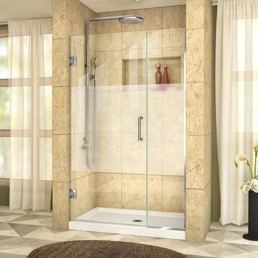 DreamLine Unidoor Plus 44-in to 44.5-in W Frameless Chrome Hinged Shower Door