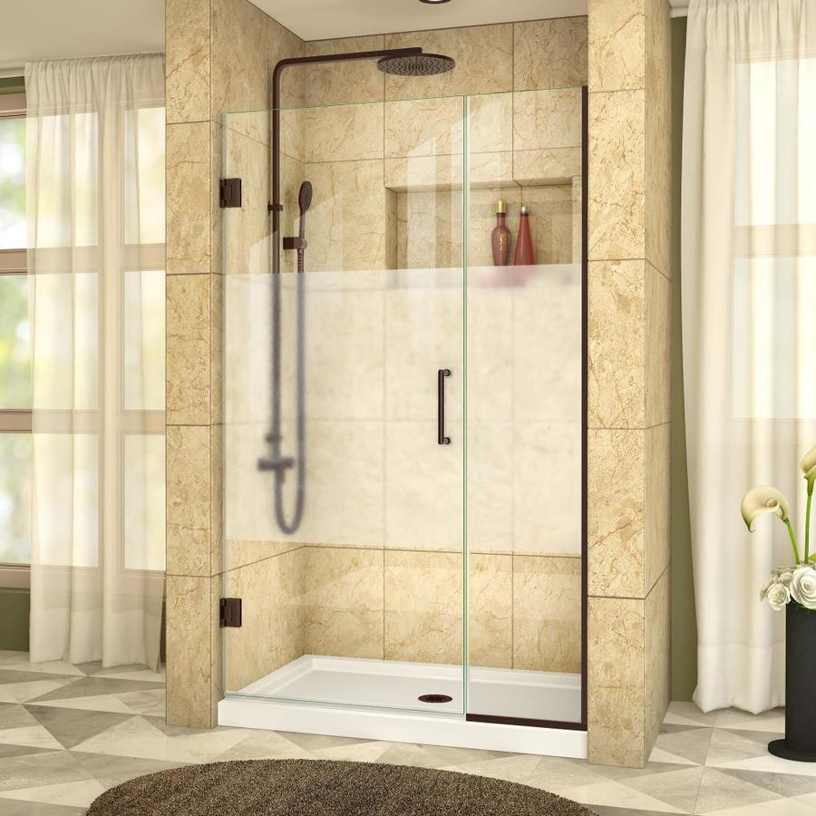 DreamLine Unidoor Plus 44-in to 44.5-in W Frameless Oil Rubbed Bronze Hinged Shower Door