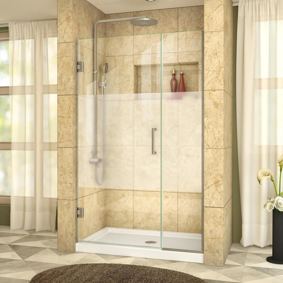 DreamLine Unidoor Plus 44.5-in to 45-in W Frameless Brushed Nickel Hinged Shower Door