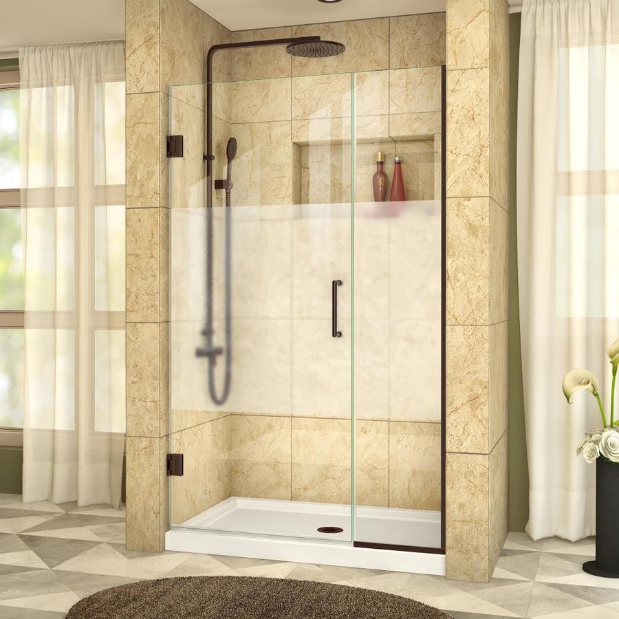 DreamLine Unidoor Plus 42.5-in to 43-in W Frameless Oil Rubbed Bronze Hinged Shower Door