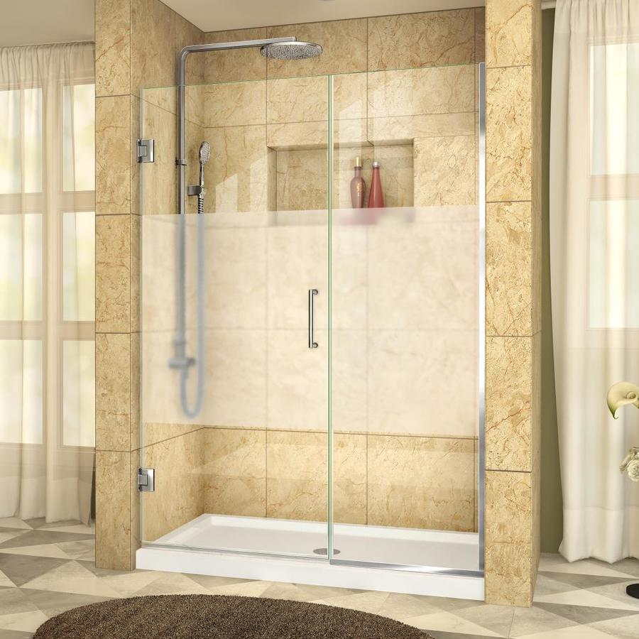 DreamLine Unidoor Plus 50-in to 50.5-in W Frameless Chrome Hinged Shower Door