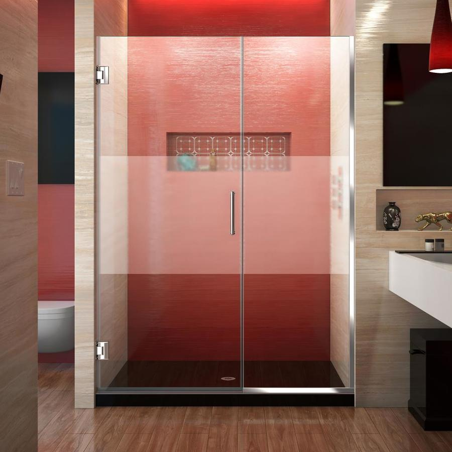 DreamLine Unidoor Plus 51-in to 51.5000-in Frameless Chrome Hinged Shower Door