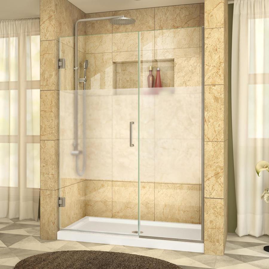 DreamLine Unidoor Plus 52-in to 52.5-in W Frameless Brushed Nickel Hinged Shower Door