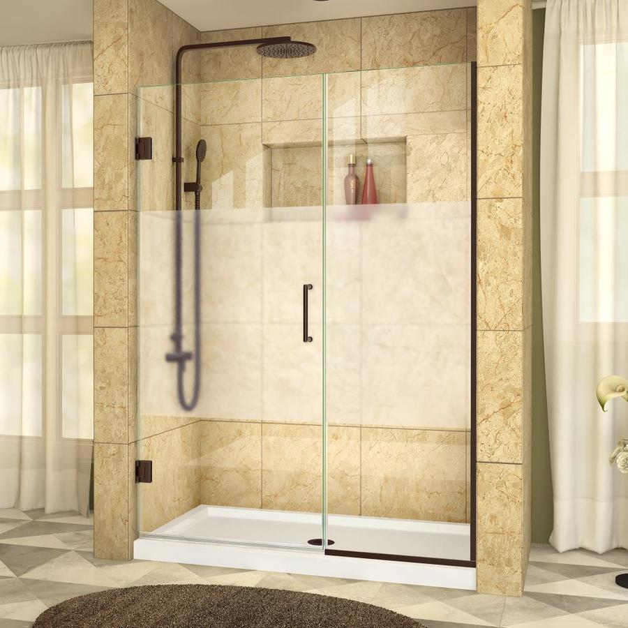 DreamLine Unidoor Plus 52.5-in to 53-in W Frameless Oil Rubbed Bronze Hinged Shower Door