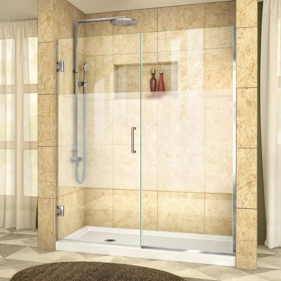 DreamLine Unidoor Plus 55-in to 55.5-in W Frameless Chrome Hinged Shower Door