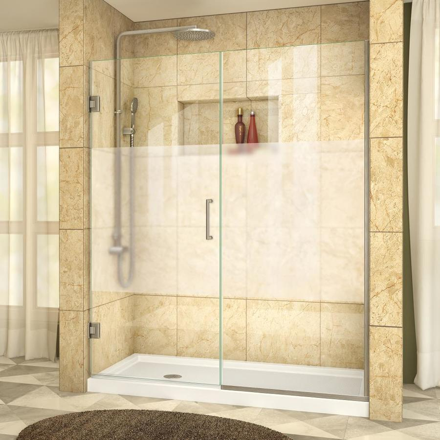 DreamLine Unidoor Plus 56.5-in to 57-in W Frameless Brushed Nickel Hinged Shower Door