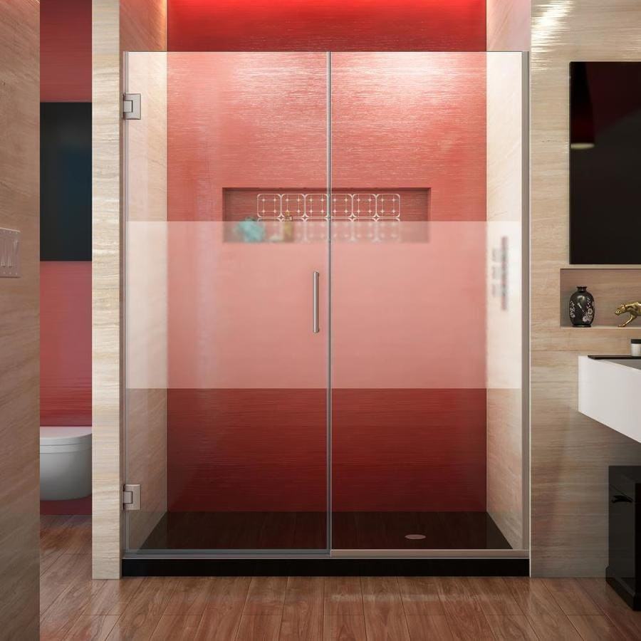 DreamLine Unidoor Plus 59.5000-in to 60-in Frameless Brushed Nickel Hinged Shower Door