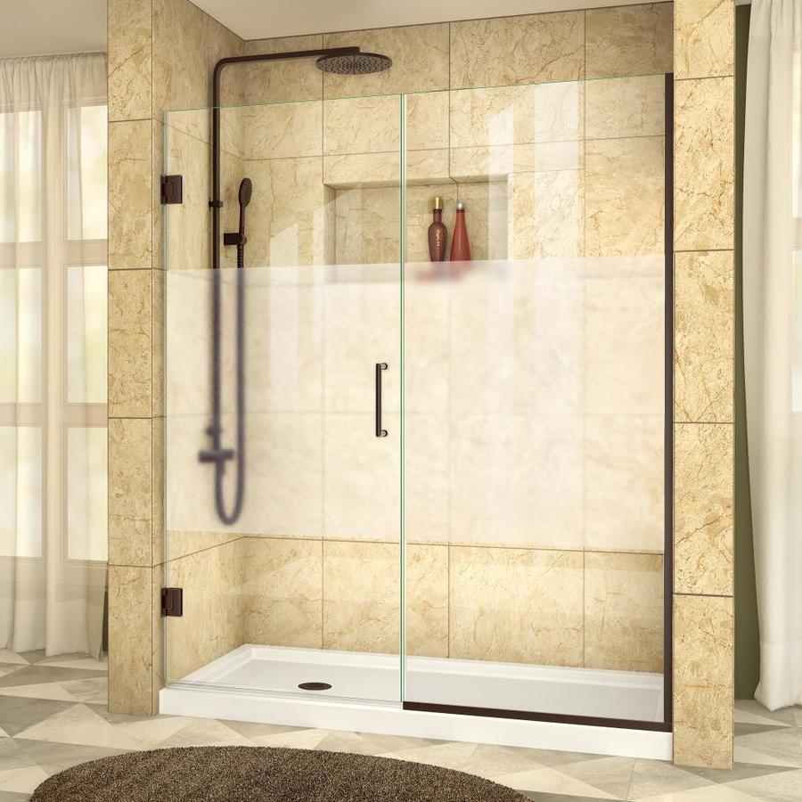 DreamLine Unidoor Plus 55.5000-in to 56-in Frameless Oil Rubbed Bronze Hinged Shower Door