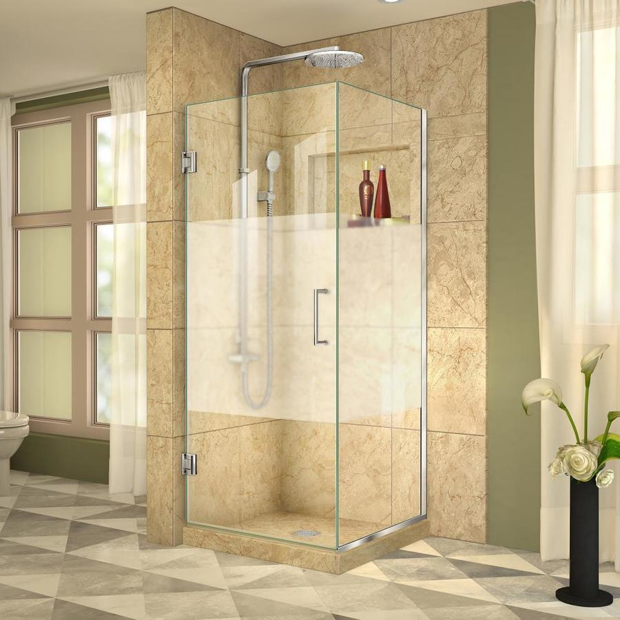 DreamLine Unidoor Plus 29-in to 29-in W Frameless Chrome Hinged Shower Door