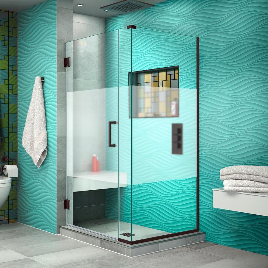 DreamLine Unidoor Plus 32.5-in to 32.5-in Frameless Oil Rubbed Bronze Hinged Shower Door