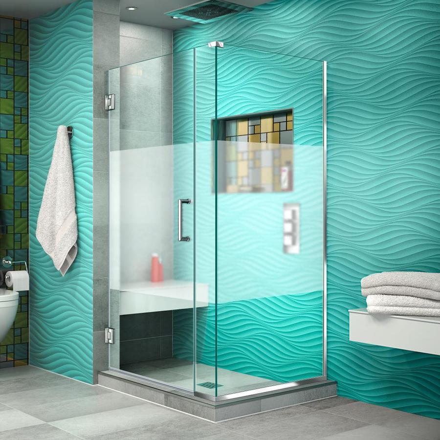 DreamLine Unidoor Plus 34-in to 34-in W Frameless Chrome Hinged Shower Door