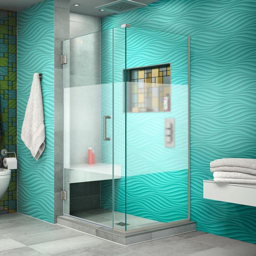 DreamLine Unidoor Plus 34.5-in to 34.5-in W Frameless Brushed Nickel Hinged Shower Door