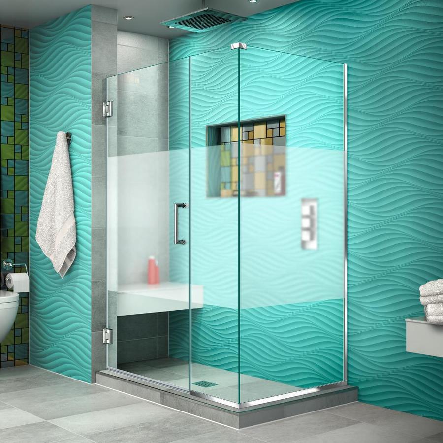 DreamLine Unidoor Plus 39-in to 39-in Frameless Chrome Hinged Shower Door