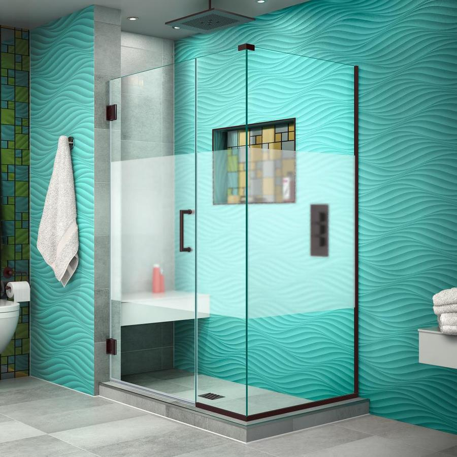 DreamLine Unidoor Plus 42.5000-in to 42.5000-in Frameless Oil Rubbed Bronze Hinged Shower Door