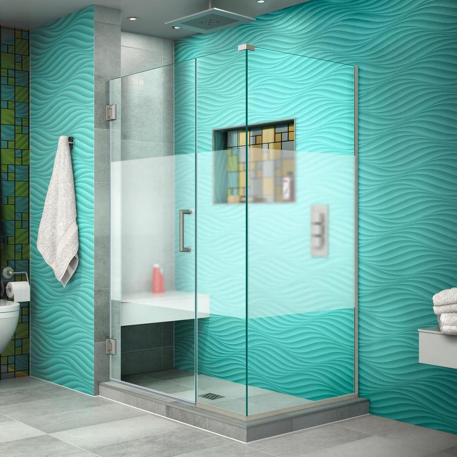 DreamLine Unidoor Plus 44-in to 44-in W Frameless Brushed Nickel Hinged Shower Door