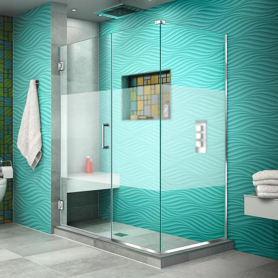 DreamLine Unidoor Plus 49.5-in to 49.5-in W Frameless Chrome Hinged Shower Door