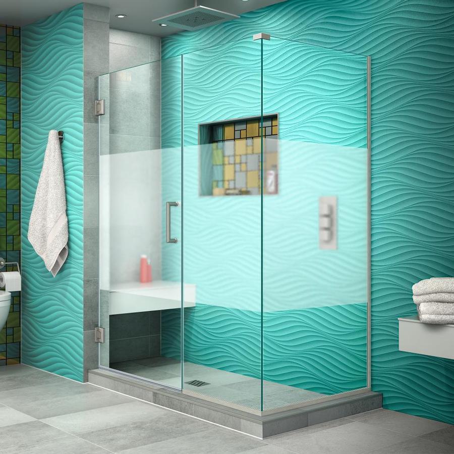 DreamLine Unidoor Plus 50.5-in to 50.5-in W Frameless Brushed Nickel Hinged Shower Door