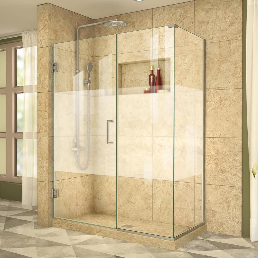 DreamLine Unidoor Plus 51-in to 51-in W Frameless Brushed Nickel Hinged Shower Door