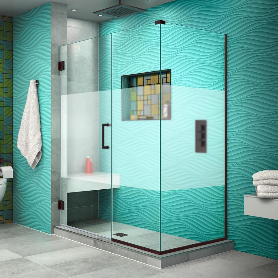 DreamLine Unidoor Plus 52-in to 52-in W Frameless Oil Rubbed Bronze Hinged Shower Door
