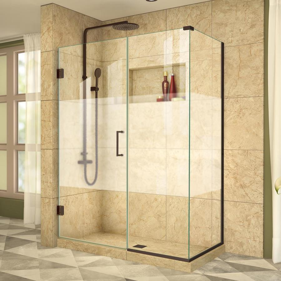 DreamLine Unidoor Plus 52-in to 52-in Frameless Oil Rubbed Bronze Hinged Shower Door