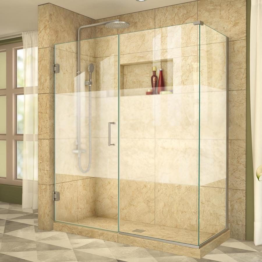DreamLine Unidoor Plus 54.5-in to 54.5-in W Frameless Brushed Nickel Hinged Shower Door