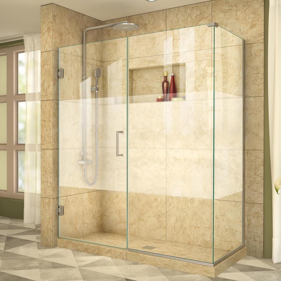 DreamLine Unidoor Plus 54.5-in to 54.5-in Frameless Hinged Shower Door