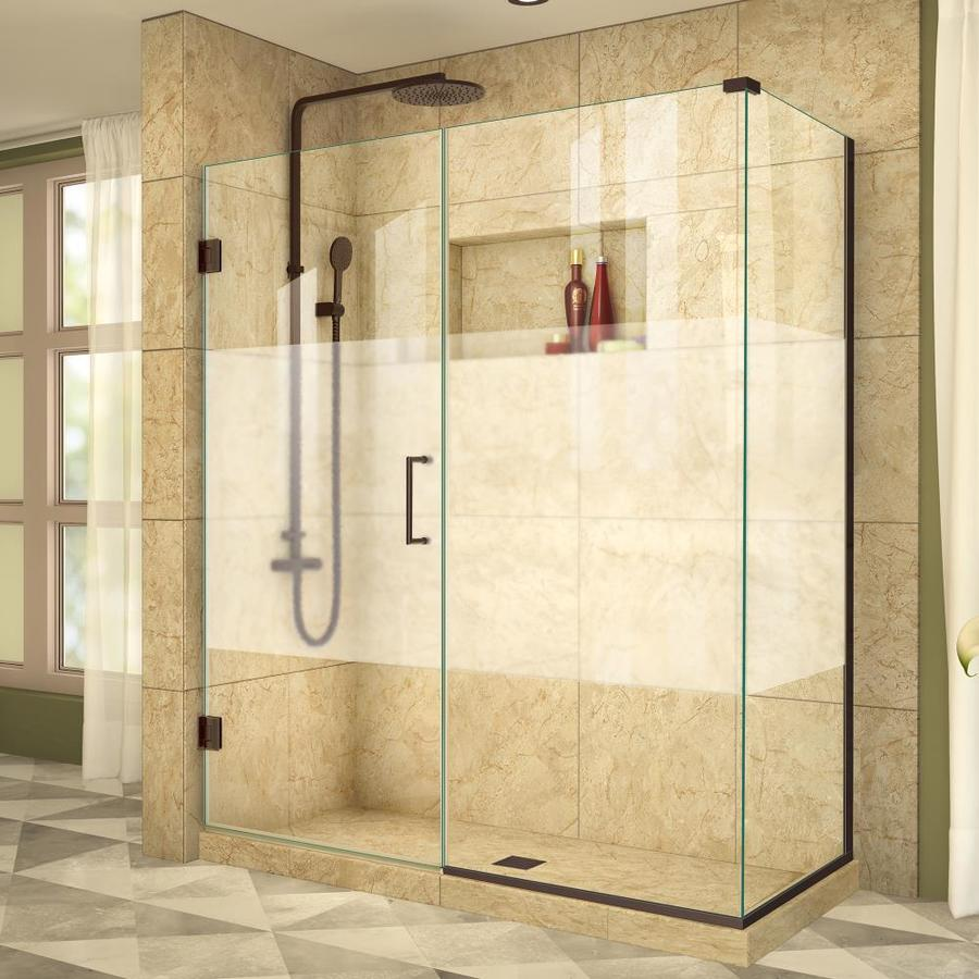DreamLine Unidoor Plus 54.5-in to 54.5-in W Frameless Oil Rubbed Bronze Hinged Shower Door