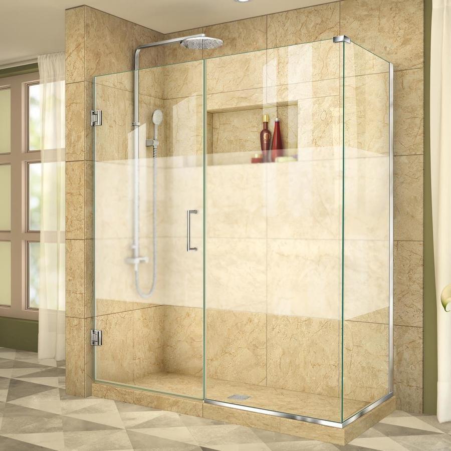 DreamLine Unidoor Plus 55-in to 55-in Frameless Chrome Hinged Shower Door