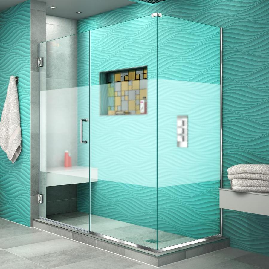DreamLine Unidoor Plus 60.5000-in to 60.5000-in Frameless Chrome Hinged Shower Door
