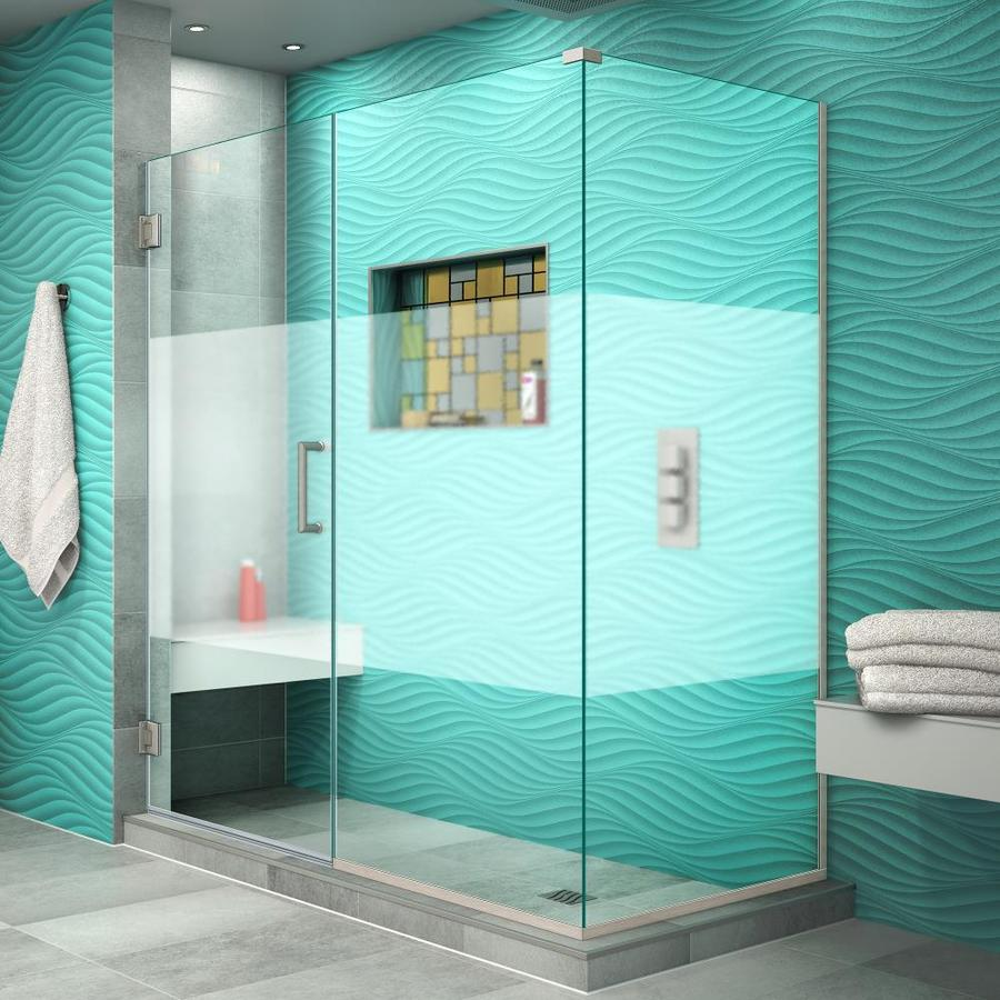 DreamLine Unidoor Plus 60.5000-in to 60.5000-in Frameless Brushed Nickel Hinged Shower Door