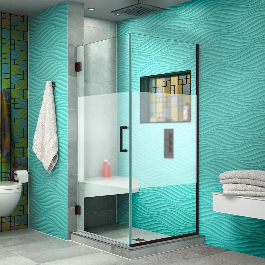 DreamLine Unidoor Plus 30.375-in to 30.375-in W Frameless Oil Rubbed Bronze Hinged Shower Door