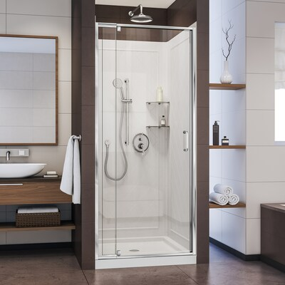 Flex Hardware Chrome Base And Backwall Color White 3 Piece Alcove Shower Kit Common 36 In X Actual