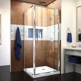 DreamLine Flex White Acrylic Floor Square 2 Piece Corner Shower Kit  (Actual: 74.75