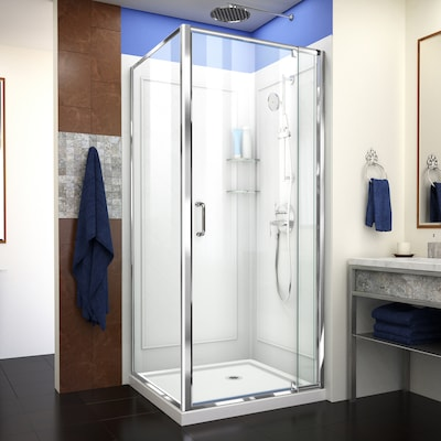 Flex Hardware Chrome Base And Backwall Color White Acrylic Wall Floor Square 3 Piece Corner Shower Kit Actual 76 75 In X 36