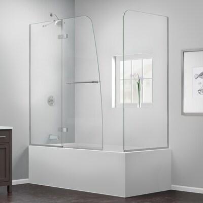 Aqua Ultra 57 In To 60 W Frameless Hinged Brushed Nickel Bathtub Door