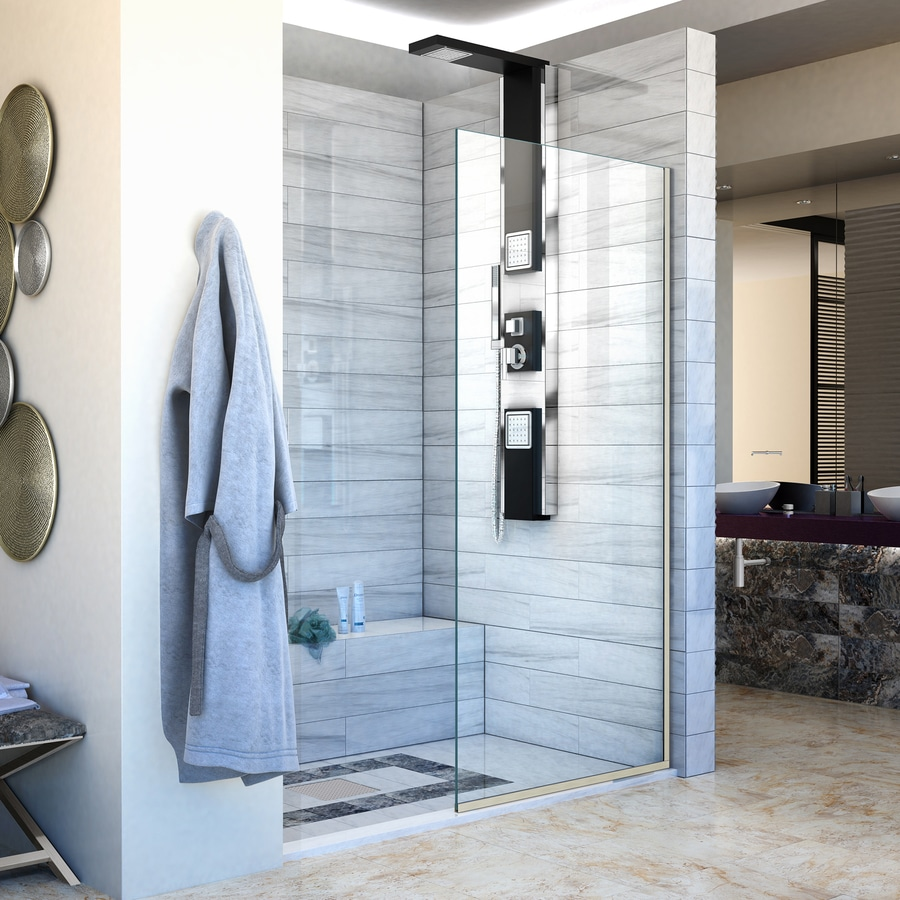 DreamLine Linea 30-in to 30-in W Frameless Brushed Nickel Fixed Shower Door