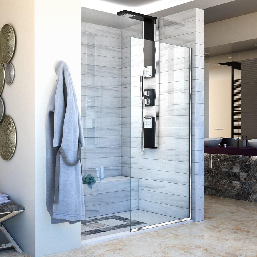 DreamLine Linea 34-in to 34-in Frameless Chrome Fixed Shower Door