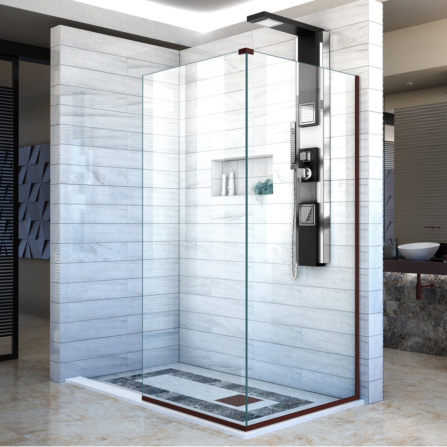 DreamLine Linea 30-in to 30-in W Frameless Oil Rubbed Bronze Fixed Shower Door