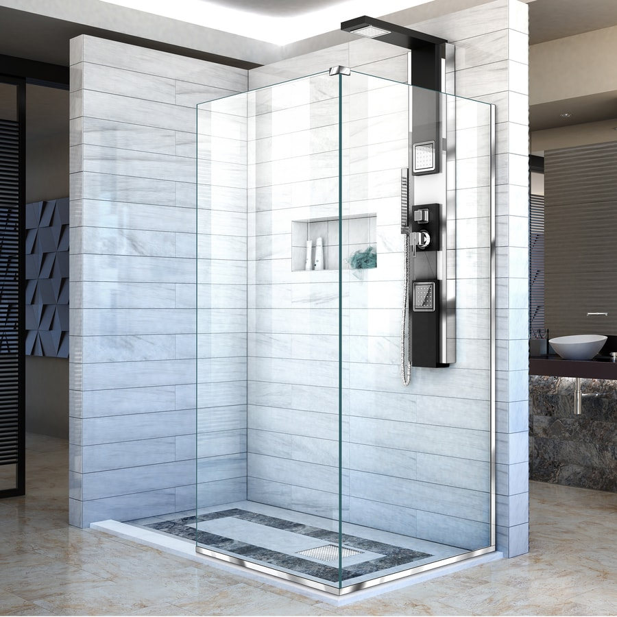 DreamLine Linea 34-in to 34-in W Frameless Chrome Fixed Shower Door