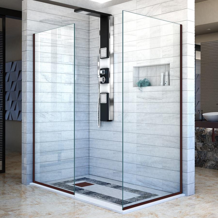 DreamLine Linea 30-in to 30-in W Frameless Oil Rubbed Bronze Fixed Shower Door