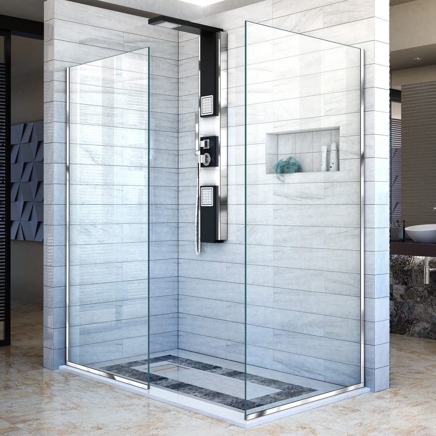 DreamLine Linea 34-in to 34-in Frameless Chrome Fixed Shower Door