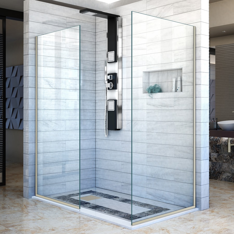 DreamLine Linea 34-in to 34-in W Frameless Brushed Nickel Fixed Shower Door