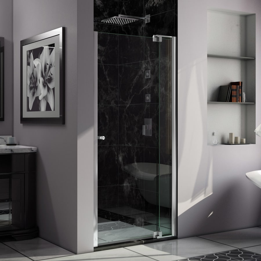 DreamLine Allure 34-in to 35-in W Frameless Chrome Pivot Shower Door