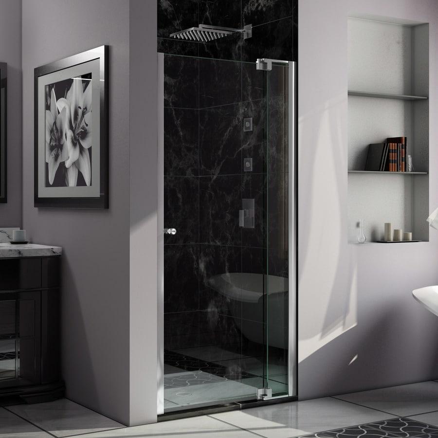 DreamLine Allure 35-in to 36-in W Frameless Chrome Pivot Shower Door