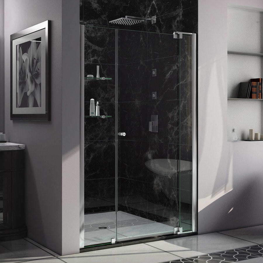 DreamLine Allure 47-in to 48-in W Frameless Chrome Pivot Shower Door