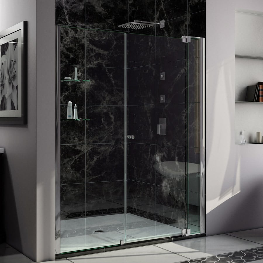 DreamLine Allure 62-in to 63-in Frameless Chrome Pivot Shower Door