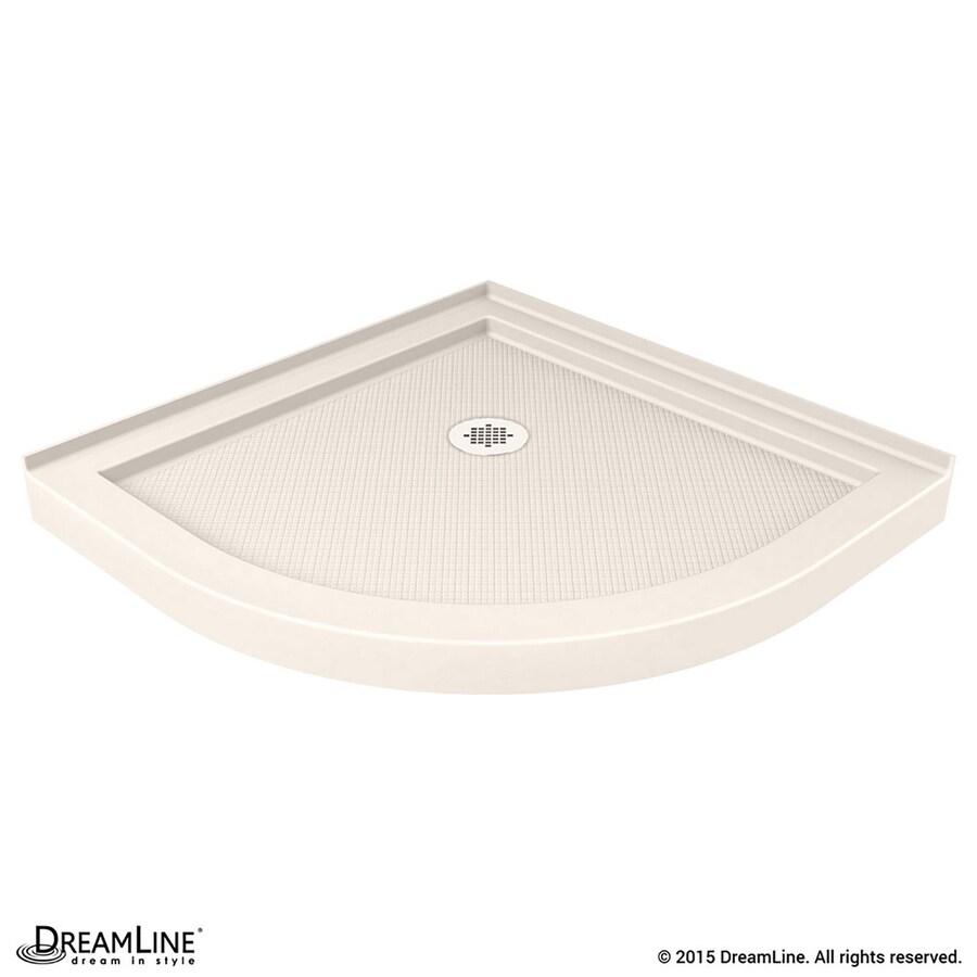 DreamLine SlimLine 36-in L x 36-in W Biscuit Acrylic Round Corner Shower Base