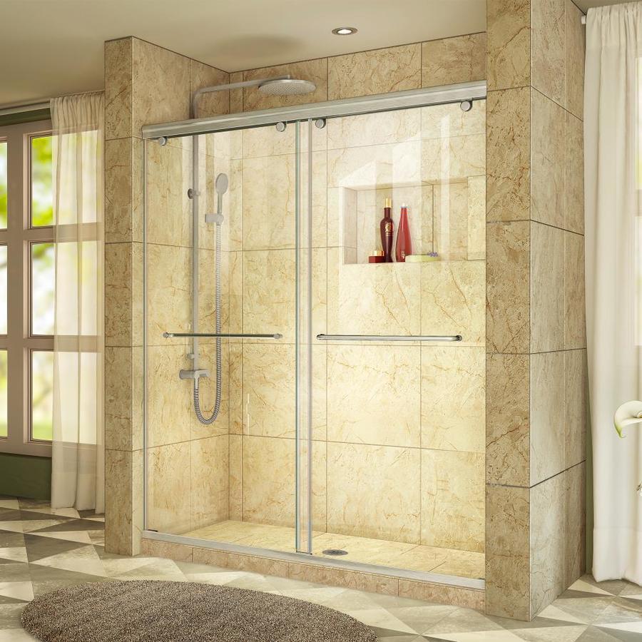 DreamLine Charisma 44-in to 48-in W Frameless Brushed Nickel Sliding Shower Door