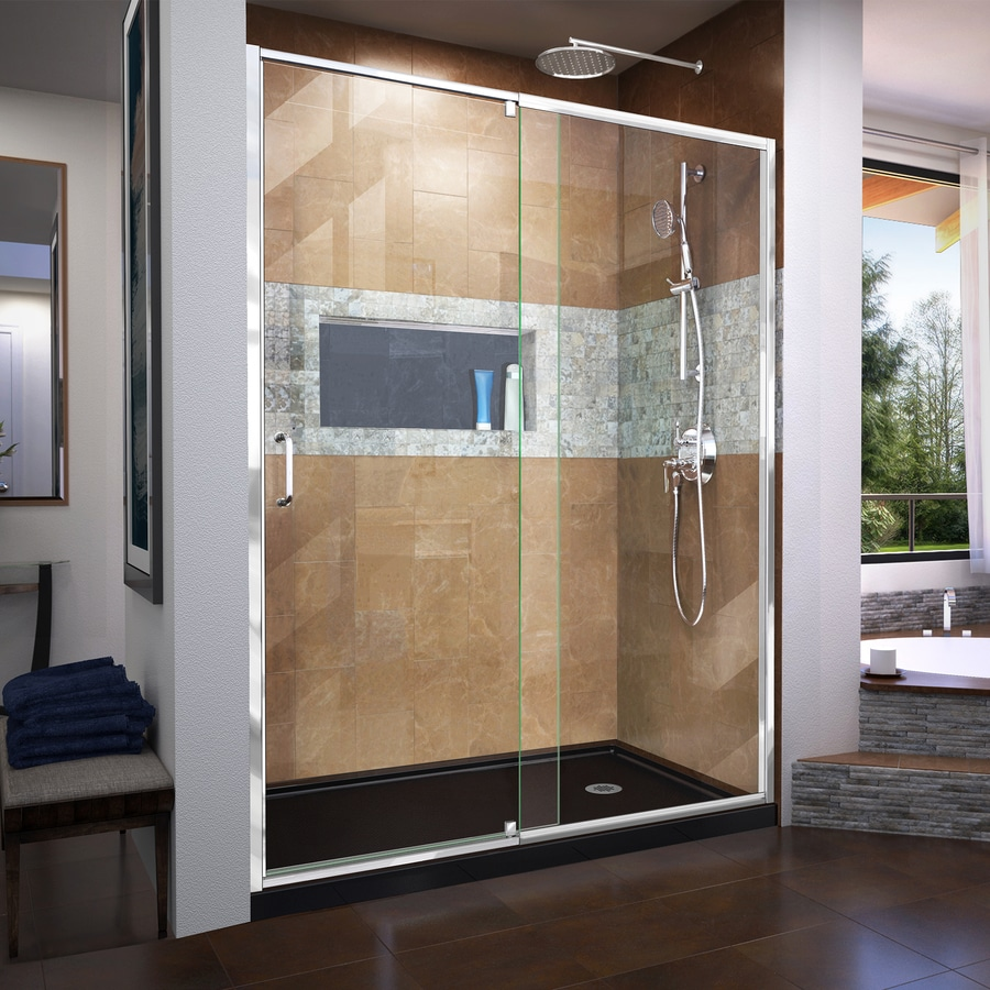DreamLine Flex 56-in to 60-in Polished Chrome Frameless Pivot Shower Door