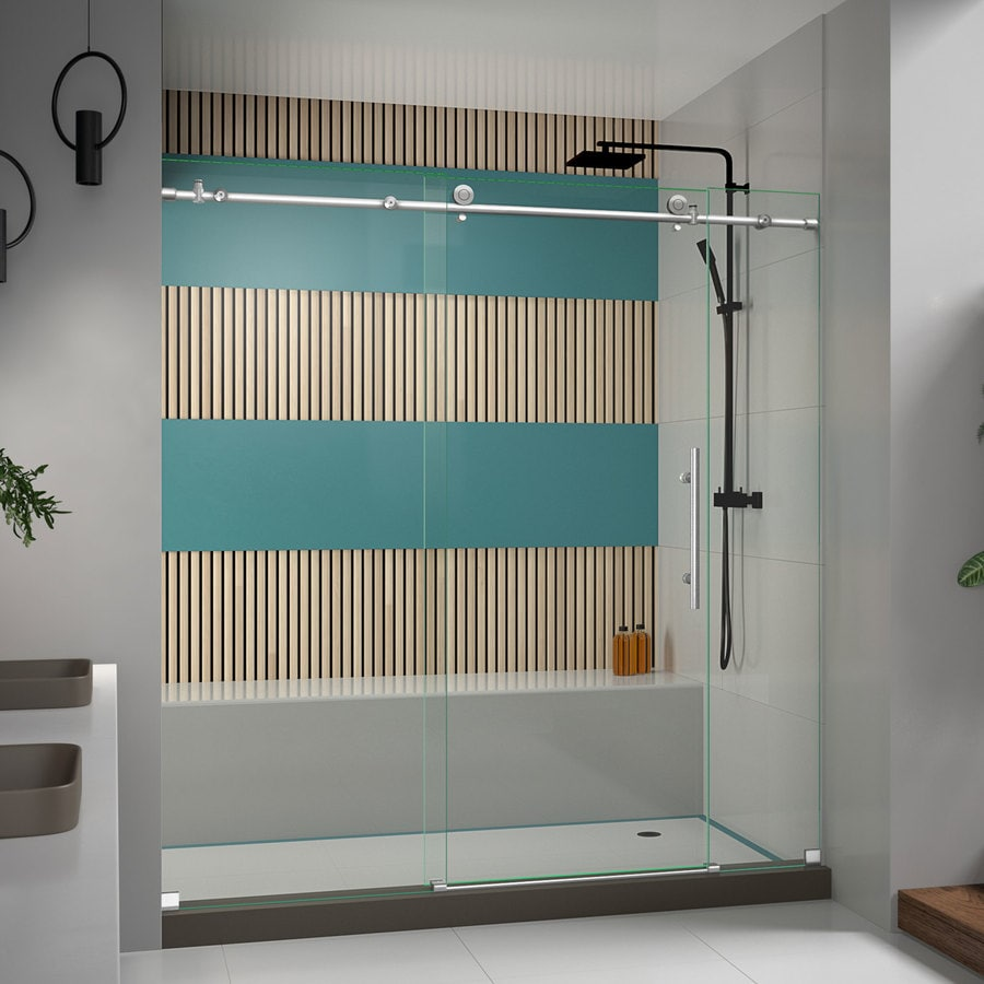 Bathroom shower doors frameless - Dreamline Enigma X 68 In To 72 In Frameless Brushed Stainless Steel Sliding